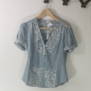 Anthropologie tiny steal blue top floral size s